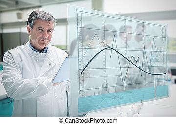 trabajando, tableta, gráfico, actuación, curva, confiado, científico, interfaz, línea, futurista