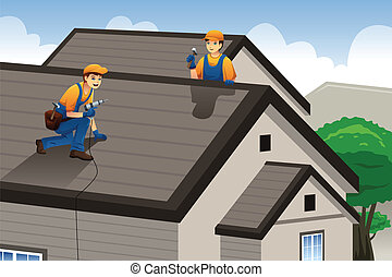 trabajando, techador, techo