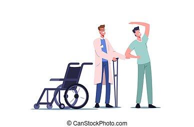 trabajando, terapia, rehabilitation., ortopédico, incapacitado, actividad, paciente, therapist físico, doctor, rehabilitar
