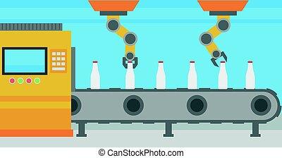 trabajando, transportador, bottles., brazo robótica, cinturón