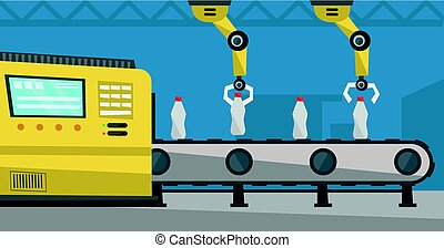 trabajando, transportador, bottles., brazo robótica,...
