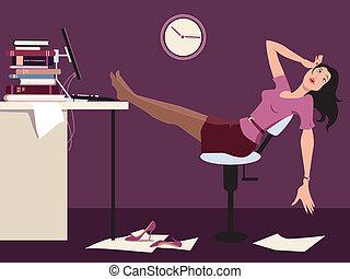 trabajar tarde, y, cansado