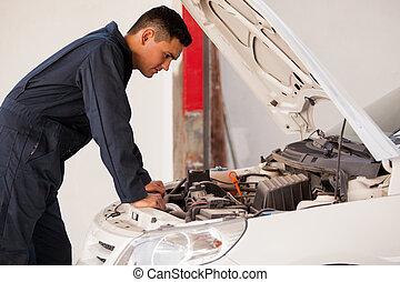 trabajar, un, automóvil, tienda