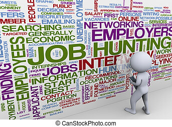trabajo, 3d, buscando, hombre