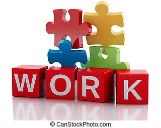 trabajo, 3d, concepto, puzzle., pedazos