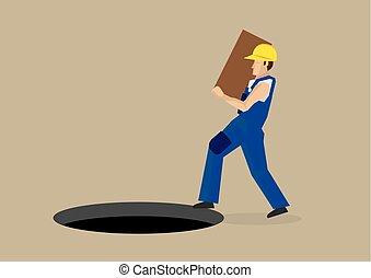 trabajo, accidente, vector, caricatura, ilustración