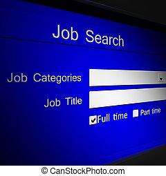 trabajo, buscando, en línea