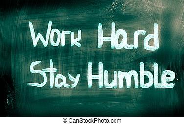 trabajo, concepto, duro, estancia, humilde