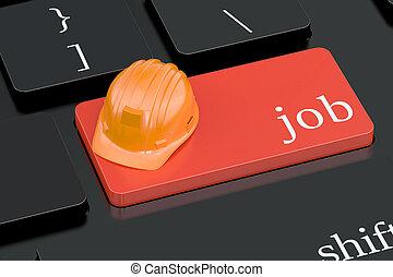 trabajo, concepto, en, rojo, teclado, botón