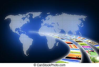 trabajo de arte, de, viaje, empresa / negocio, de, paisaje,...