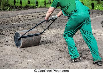 trabajo, duro, jardín
