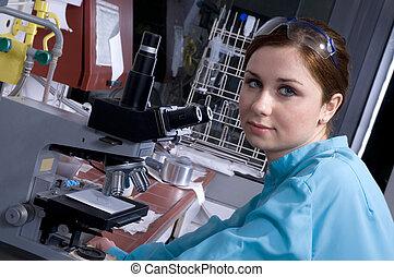 trabajo, en, el, laboratorio