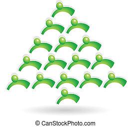 trabajo en equipo, árbol verde, logotipo