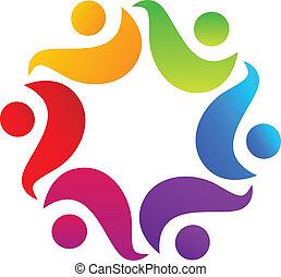 trabajo en equipo, abrazo, logotipo, diseño