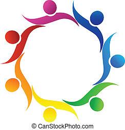 trabajo en equipo, abrazo, símbolo, logotipo, vector