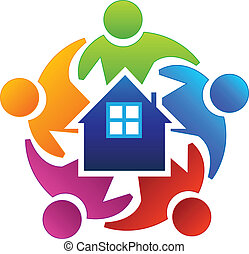 trabajo en equipo, agentes, bienes raíces, logotipo