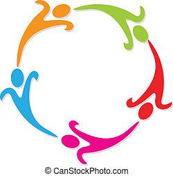 trabajo en equipo, alrededor, en, círculo, logotipo