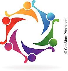 trabajo en equipo, amistad, logotipo