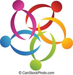 trabajo en equipo, apoyo, flor, logotipo, 2