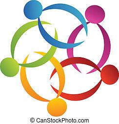 trabajo en equipo, apoyo, flor, logotipo, 3