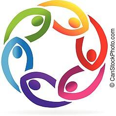 trabajo en equipo, apoyo, gente, logotipo
