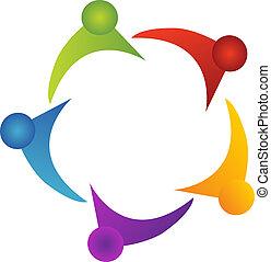 trabajo en equipo, apoyo, logotipo
