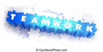 trabajo en equipo, -, blanco, palabra, en, azul, puzzles.