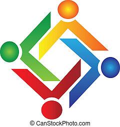 trabajo en equipo, caridad, gente, logotipo, vector