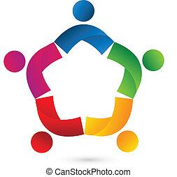 trabajo en equipo, colaboración, estrella, logotipo