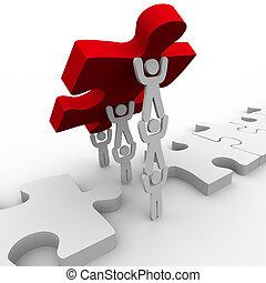 trabajo en equipo, colocación, final, pedazo, en, rompecabezas