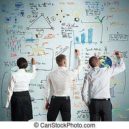 trabajo en equipo, con, nueva corporación mercantil, proyecto