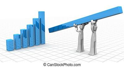 trabajo en equipo, concepto, éxito financiero, crecimiento