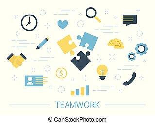 trabajo en equipo, concepto, ilustración