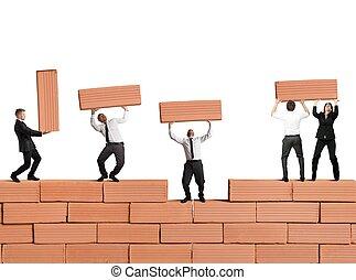 trabajo en equipo, construye, un, nueva corporación mercantil