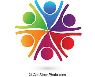 trabajo en equipo, cooperativo, gente, logotipo