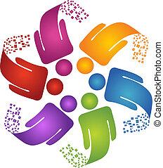 trabajo en equipo, creativo, diseño, logotipo