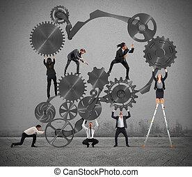 trabajo en equipo, de, businesspeople