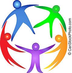 trabajo en equipo, en, un, abrazo