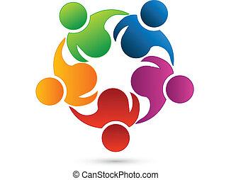 trabajo en equipo, establecimiento de una red, logotipo