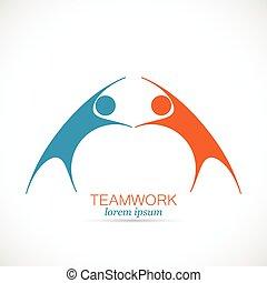 trabajo en equipo, Extracto, diseño, logotipo