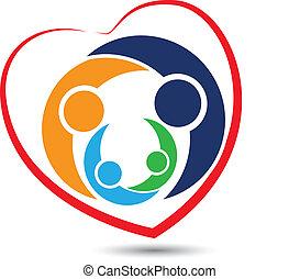 trabajo en equipo, familia , en, corazón, logotipo