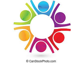 trabajo en equipo, feliz, empresarios, logotipo
