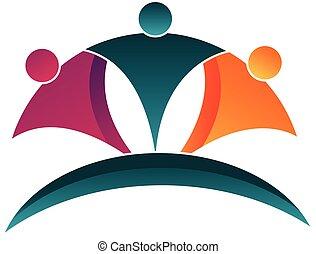 trabajo en equipo, feliz, gente, logotipo
