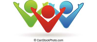 trabajo en equipo, feliz, sociedad, logotipo