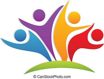 trabajo en equipo, feliz, socios, logotipo