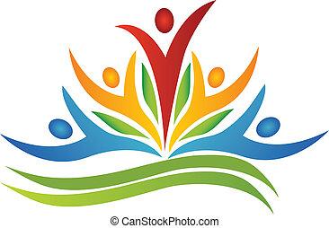 trabajo en equipo, flor, con, leafs, logotipo