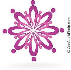 trabajo en equipo, flor de loto, balneario, símbolo, logotipo