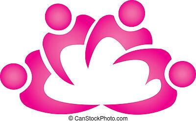 trabajo en equipo, flor de loto, forma, logotipo