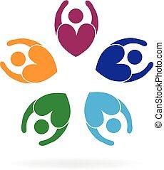trabajo en equipo, flor, empresa / negocio, amor, gente, logotipo