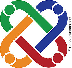 trabajo en equipo, gente, conexión, logotipo